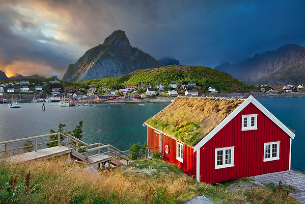 Reine, Norway. Image of fishing village Reine on Lofoten Islands in  Norway.