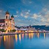 Lucerne. Image of evening cityscape of Lucerne, Switzerland.